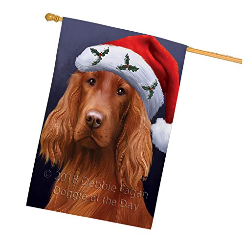Christmas Holidays Irish Setter Dog Wearing Santa Hat Portrait Head House Flag FLG53697