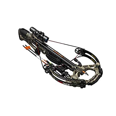 BARNETT HyperGhost 425 Crossbow in Mossy Oak Treestand Camo, Shoots 425 Feet Per Second and Includes Premium Illuminated 4X32 Scope