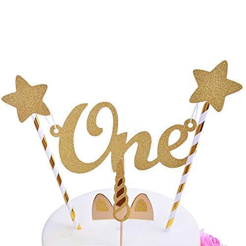 (SHAMI Handmade 1st Birthday Cake Topper -Unicorn,Cake Topper Banner for 1st Birthday, 1rst Birthday Decorations(Gold),Cake Decorating Banner-Assembled)