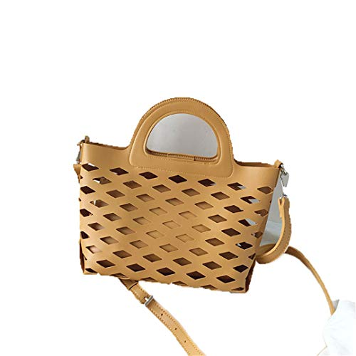 Women Composite Bags PU Leather Hollow H bags Shoulder Bags H bags yellow