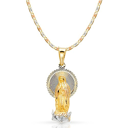 14K Tri Color Gold Diamond Cut Our Lady of Guadalupe Stamp Charm Pendant with 1.5mm Valentino Chain Necklace - 24