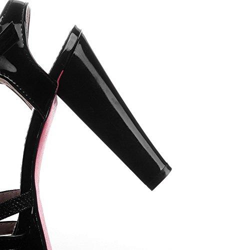 BalaMasa Womens Chunky Heels Platform Peep-Toe Urethane Sandals Black p4mx15IY