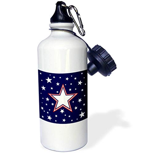 3dRose Alexis Design - America - Fifty Stars Of Freedom. Large three color star, white stars on blue - 21 oz Sports Water Bottle (wb_288370_1) by 3dRose