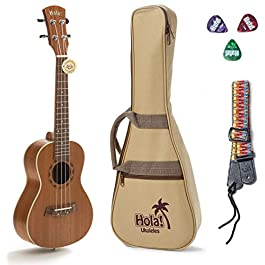 Concert Ukulele Bundle, Deluxe Series by Hola! Music (Model HM-124MG+), Bundle Includes: 24 Inch Mahogany Ukulele with…