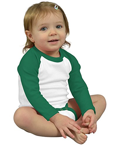 Monag Long Sleeve Raglan Bodysuit 12-18M White/Kelly Green