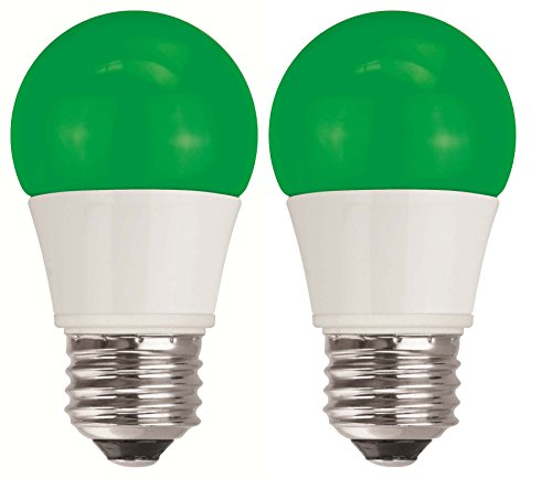 TCP 5W Equivalent Green LED A15 Regular Shaped Light Bulbs, Non-Dimmable (2 Pack)]()