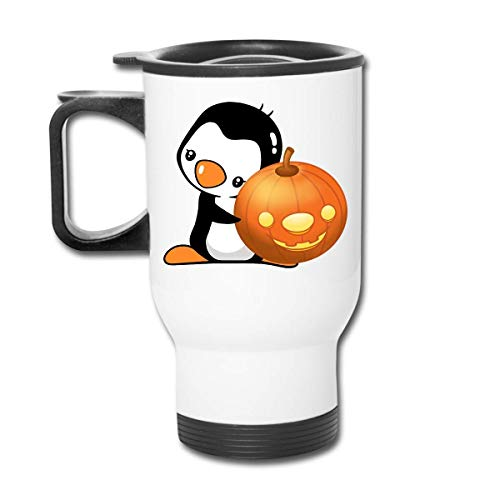 (NOLIEE Coffee Mug Stainless Steel Travel Mug - Halloween Car Travel Insulated Tumblers with Handle Office Staff White)