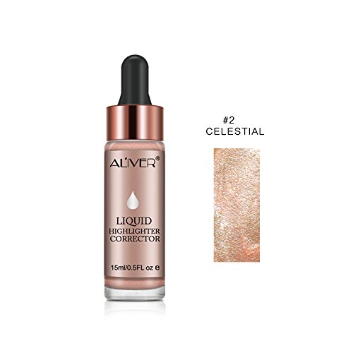 (Aliver Liquid Highlighter Makeup Smooth Shimmer Glow Liquid Illuminator for Face Contour Makeup (#2 CELESTIAL))