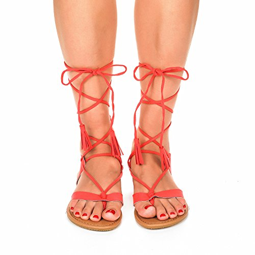 Sammy Lace Gladiator Flat Women's Coral Sandals up DREAM PAIRS qRp6UU
