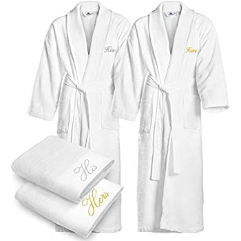 kaufman terry cloth bathrobes 100 cotton his and hers embroidered waffle shawl. Black Bedroom Furniture Sets. Home Design Ideas