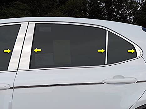 HOTRIMWORLD Carbon Fiber Window B Pillars Posts Cover Trim 8pcs for Toyota Camry 2018-2020