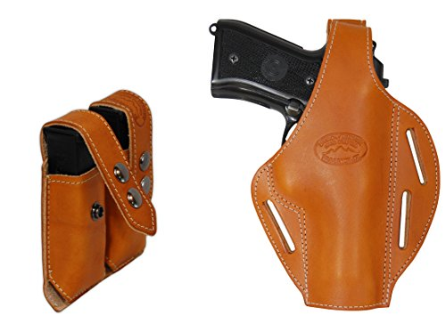 Barsony New Tan Leather Pancake Gun Holster + Dbl Magazine Pouch for S&W SD9 SD40 Right