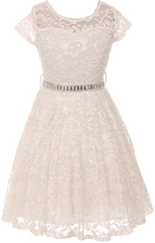 (Big Girl Cap Sleeve Lace Skater Stone Belt Flower Girls Dresses (19JK88S) Off White)