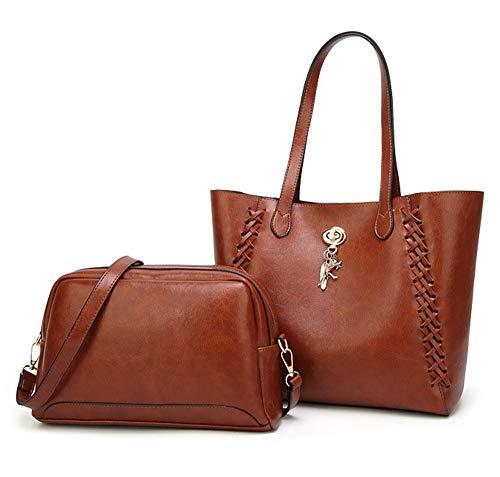 Hynice Handbags for Women Tote Bag Shoulder Bag Top Handle Satchel Leather Hobo Purses Sets 2PCS for Travel/Leisure/Dating(ZR03-Brown)