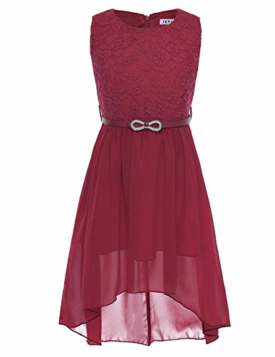 FEESHOW Kids Big Girls Lace Flower High Low Chiffon Bridesmaid Dress Dance Party Burgundy