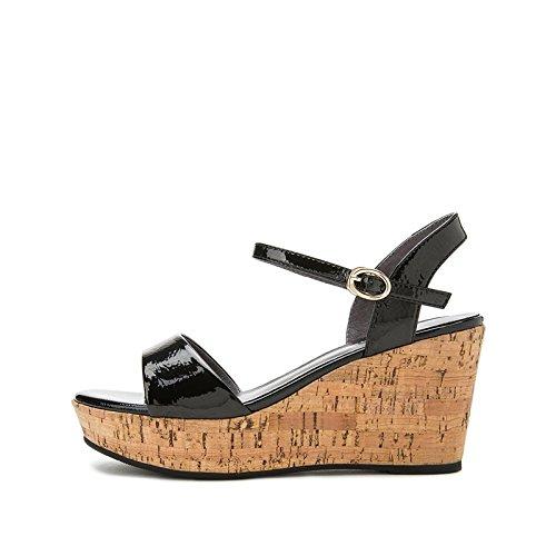 de 39 Zapatillas Sandalias Verano Tacones Mujer Sandalias Dulces de de bajo de Tacón Negro Sólido Color Ocasionales Sandalias Moda Altos DHG Punta de de Planas wIU4SqS