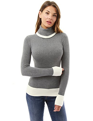 PattyBoutik Women Block Color Turtleneck Sweater (Gray and Ivory X-Large) ()