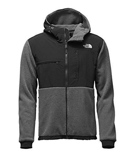 (The North Face Denali 2 Hoodie Jacket - Men's Recycled Charcoal Grey Heather/TNF Black Medium)