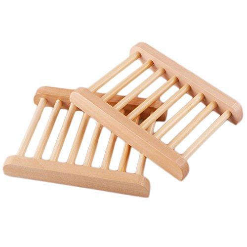 Doitsa Soap Dish Bamboo Bathroom Sink Deck Soap Holder Wooden Soap Case 1 (Wooden Soap Holder)