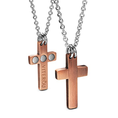 VITEROU Unisex Magnetic Pure Copper Cross Pendant Necklace Pain Relief for Arthritis Migraine Headaches Shoulders and Back(10,500 Gauss)(Womens) ()