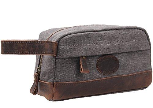 msg vintage leather canvas travel toiletry bag shaving dopp kit a001 beard primp. Black Bedroom Furniture Sets. Home Design Ideas