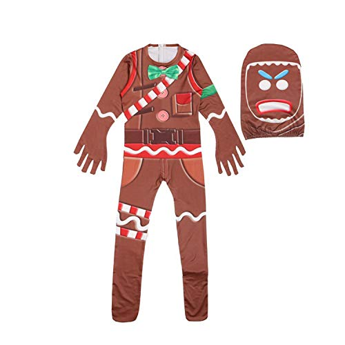 Gingerbread Jumpsuit Costume Halloween Cosplay Costume with Mask (8T, Kids) ()