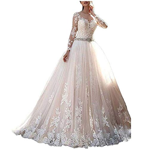 (Cardol 2017 Women's Lace Wedding Dresses Bridal Gowns Long Sleeves Ball Gowns)