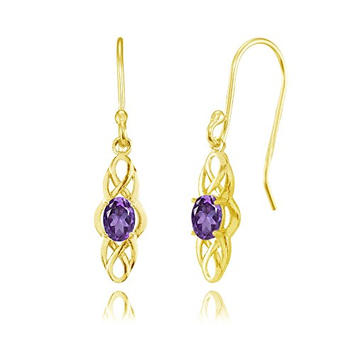 Yellow Gold Flashed Sterling Silver African Amethyst Celtic Knot Oval Dangle Drop Earrings -