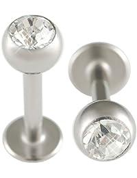 14g gauge 3/8 10mm Surgical Steel Lip Bar Labret Ring Monroe Ear Tragus Stud Bars balls 5mm Crystal Clear Piercing 2Pcs ALOG