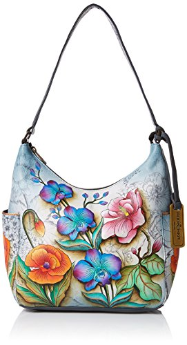 Flower Hand Leather Painted Wallet (Anuschka Classic Hobo Side Pockets Ffy, Floral Fantasy)