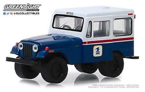Greenlight 29998 United States Postal Service (USPS) 1971 Jeep Dj-5 Postal Mail Delivery Vehicle Hobby Exclusive 1/64 Diecast Model Car, Blue from Greenlight