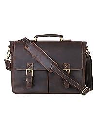 Kattee Men's Crazy Horse Leather Messenger Bag Attache Business Laptop Bag