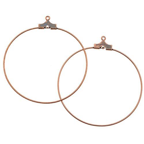 Antiqued Copper Ear Wires - Antiqued Copper Plated Beading Hoop Earring Findings W/Loop - 40mm Diameter /12