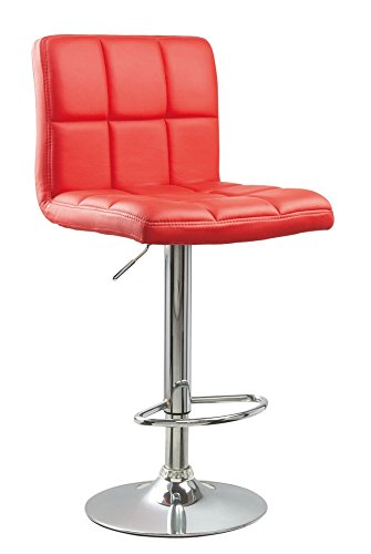 Roundhill Furniture Swivel Red Bonded Leather Adjustable Hydraulic Bar Stool, Set of 2