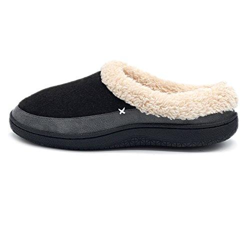 Youtouchlife Mens Comfort Memory Foam Pantofole Lana Felpata Foderata In Pile Casa Scarpe Interne / Esterne Suola In Gomma Antiscivolo Nero