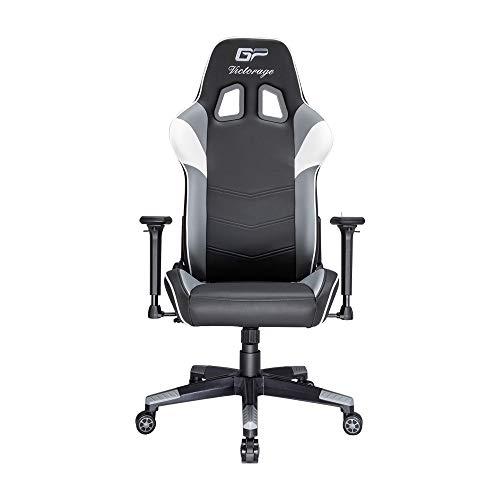 VICTORAGE Gaming Chair GP Series- Professional & Textured- Gaming/Streaming - Long time Sitting- Inspired by Racing car- Ergonomic Design- Rocking Function (Grey) VICTORAGE