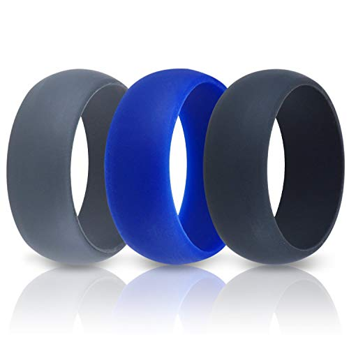 ThunderFit Mens Silicone Wedding Rings Wedding Bands - 3 Pack (Black, Dark Grey, Blue, 14.5-15 (23.7mm)) ()