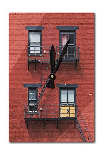 Lantern Press Cincinnati, Ohio - Windows on Red Brick Wall - Photography A-92631 (Acrylic Wall Clock)