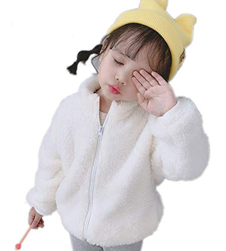 Rosiika Baby Little Girls Winter Fleece Coat Kids Faux Fur Jacket Outwear Warm Overcoat 90 White