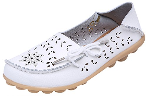 UJoowalk Women's White Casual Cowhide Leather Hollow Out Driving Loafer Shoes Boat Flats - Size 7.5