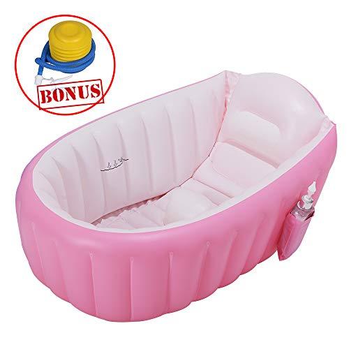 EOSAGA Baby Inflatable Bathtub Portable Mini Air Swimming Pool Toddler Thick Foldable Shower Basin (Pink)