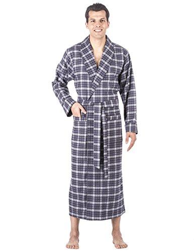 c3e4ad6f5c Noble Mount Mens Premium 100% Cotton Flannel Long Robe