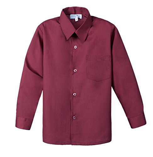 Spring Notion Big Boys' Long Sleeve Dress Shirt 8 Burgundy ()