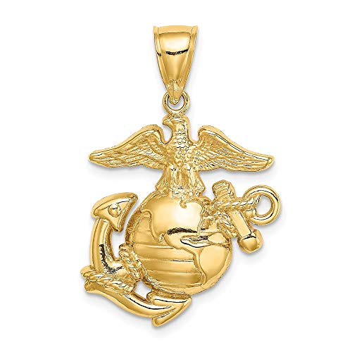 14k Yellow Gold 2 D Med. Marine Corps Symbol Pendant Charm Necklace Career Professional Military Fine Jewelry For Women Gifts For Her