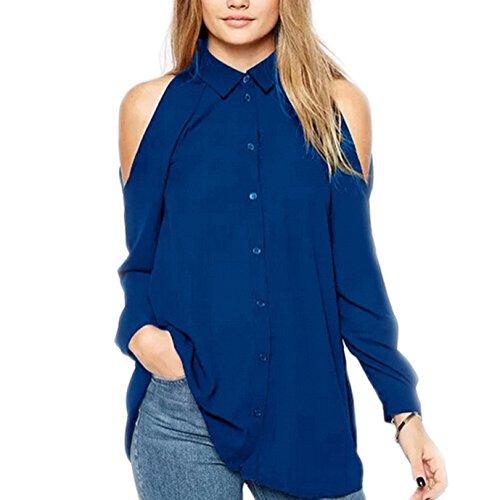 BaronHong mujeres sin tirantes diseñador de verano más tamaño de manga larga gasa blusa camiseta zafiro