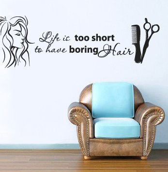 Wall Decal Vinyl Sticker Decals Art Decor Design Bedroom Dorm Office Nursery Hairdresser Salon Nail Barber shop hair stylist style girls fashion Life it short to have boring hair quote wording lettering scissors hairbrush women face (r1442) (Picture Hair)