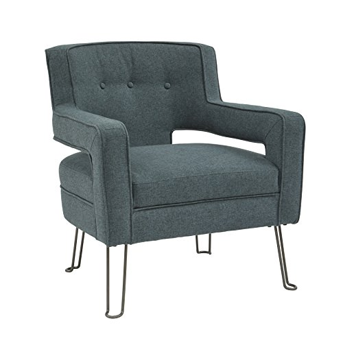 Pulaski DS-D198-712 Hairpin Leg Accent Chair with Steel, Blue