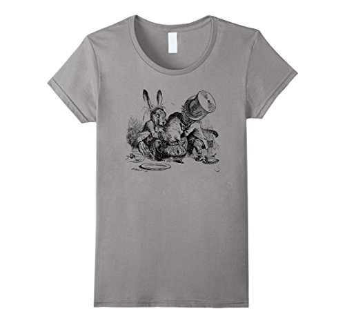 [Big Texas Mad Hatter, Dormouse and March Hare T-Shirt - Female XL - Slate] (Female Mad Hatter)