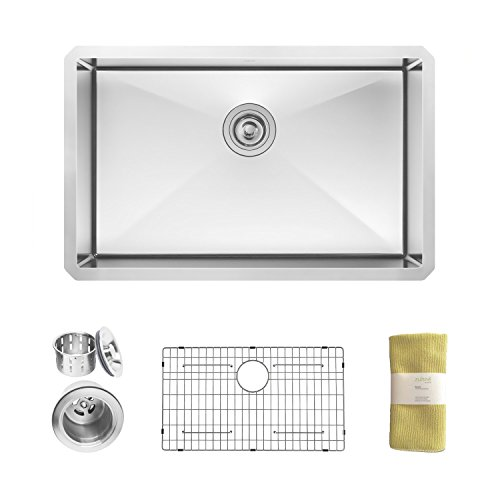 Zuhne Modena 28 Inch Undermount Single Bowl 16 Gauge Handmade Stainless Steel Kitchen Sink With Unique Curved Corners