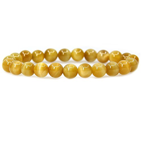 Citrine Tigers Eye Bracelet - Natural AAA Gold Tiger Eye Gemstone 8mm Round Beads Stretch Bracelet 7